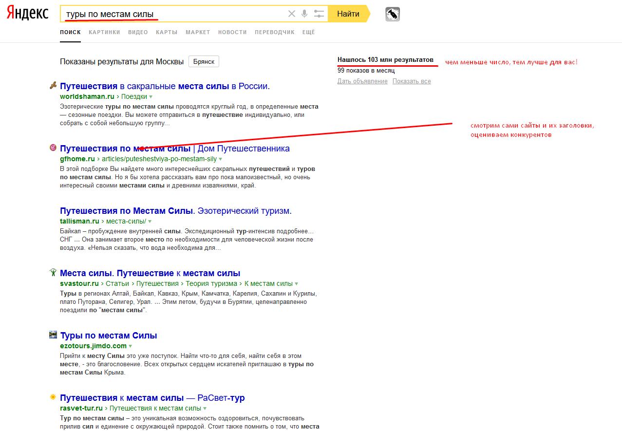 поисковая система - проверка ниши и анализ конкурентов