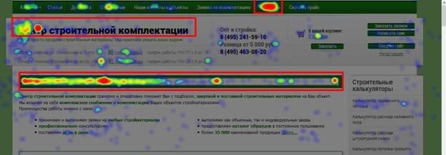 карте кликов можно наблюдать популярность элементов сайта